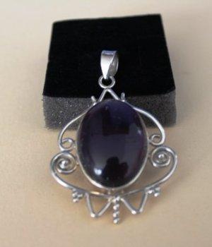 Colgante color plata-violeta amarronado plata verdadero