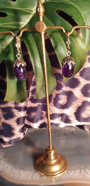 Orecchino a pendente oro-viola