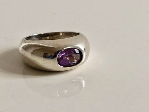 Amethyst Silberring massiv 925 Silber sterling Amethystring Modern Art Ring