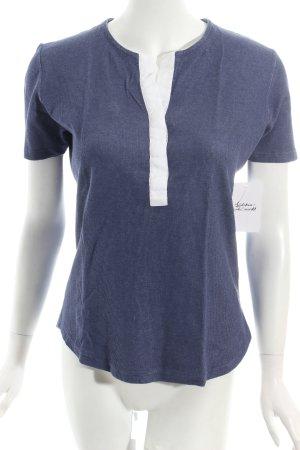 Amina Rubinacci T-Shirt stahlblau-weiß Casual-Look