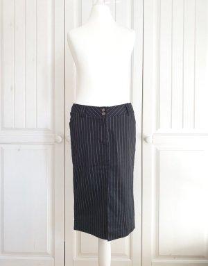 Amisu 36 langer Rock schwarz grau streifen Bleistiftrock Businessrock Bürorock Kleid