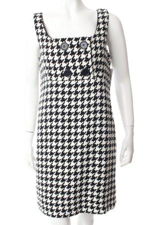 Amisu A-Linien Kleid weiß-schwarz Hahnentrittmuster
