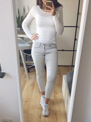 AMISU Basic Shirt Langarm Longsleeve tiefer Rückenausschnitt Gr. XS creme weiß