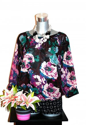 Amisu Bluse Cut Out gr.40/42 Flower Design