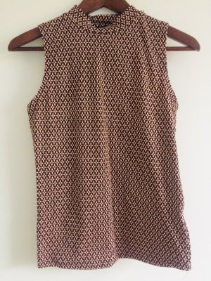AMISU Bluse S/M, geometrische Muster,  halb-Rollkragen, retro Schick