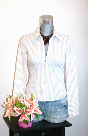 Amisu Business Bluse gr. 34/36 Pencil Weiß Gestreift