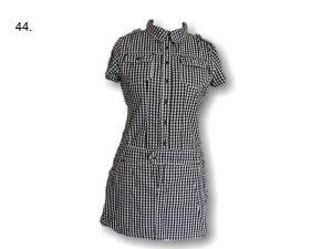 ♥Amisu Damenkleid, kariert,schwarz/weiß, Taschen, Knöpfe,neu♥