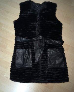 Amisu Smanicato di pelliccia nero