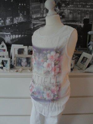 Amisu Fashion*Süßes Viskose Top*weiß-pastell Blumenprint*S=34/36