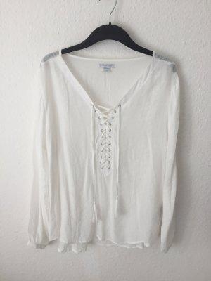 Amisu Hemd mit Schnürung Weiß