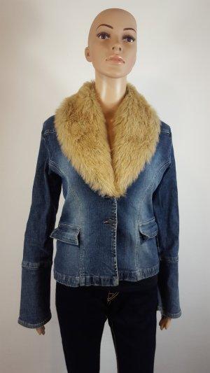 Amisu Jeans Kurzjacke Damen Jacke mit Plüschkragen Größe 36 blau