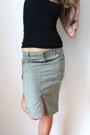 Amisu Jeans-Rock, Gr.34, khaki/grau