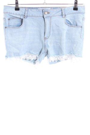 Amisu Pantaloncino di jeans blu-bianco stile casual