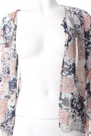 Amisu Kimono dark blue-pink flower pattern transparent look