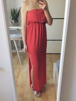 AMISU Kleid Maxikleid Bandeaukleid Bandeau koralle rot Größe 34