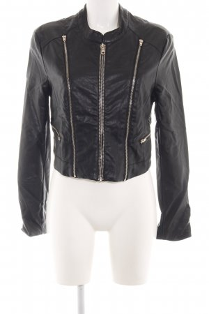 Amisu Faux Leather Jacket black casual look