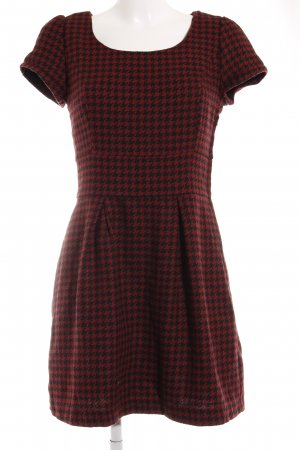 Amisu Kurzarmkleid dunkelrot-schwarz Glencheckmuster klassischer Stil