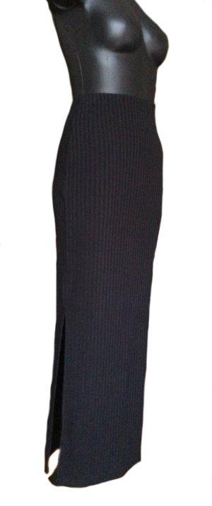 AMISU Langer dünner schwarzer Rock mit Seitenschlitzen