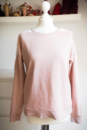 Amisu M S 36 38 Damen Pullover rosa lachs Spitze weiß Herbst Pulli Reißverschluss