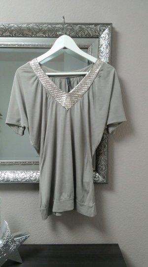 Amisu Oberteil Bluse Shirt mit V Auschnitt Pailletten Blogger Gr. Xs S