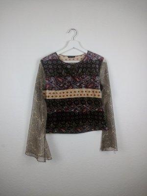 amisu oberteil shirt S M 38 trompetenärmel hippie indie boho goa festival fashion blogger