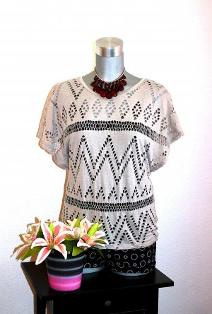Amisu Oversize Netz Top Shirt Gr.40/42 Häkel Nude Grau Tshirt