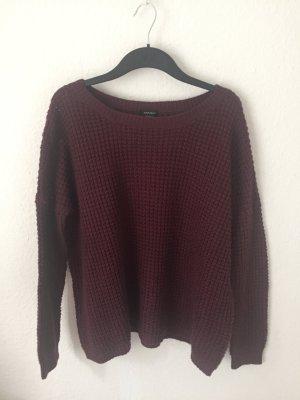 Amisu oversized Pullover Weinrot