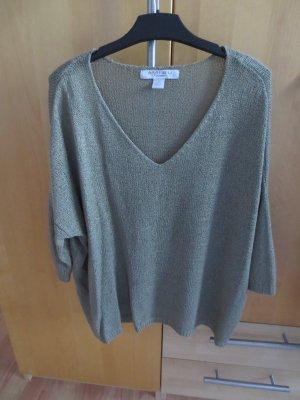 AMISU  Pullover dunkelgrün khaki V-Ausschnitt dreiviertelärmelig