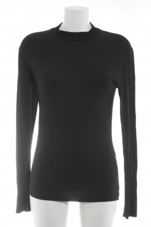 Amisu Turtleneck Shirt black striped pattern casual look