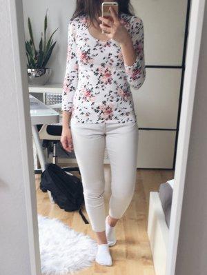 AMISU Shirt 3/4-Arm Blumenprint rosa grün beige Gr. XS figurbetont
