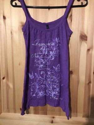 Amisu Shirt lila Blumen Schmetterlinge S
