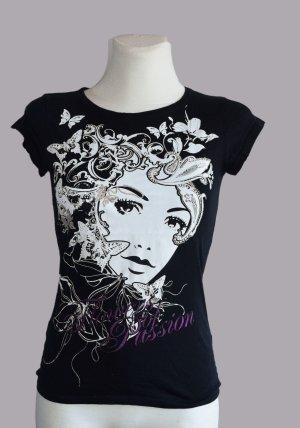 Amisu Shirt mit großem Print, Gr. XS/S