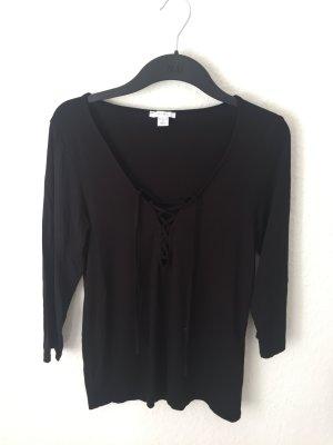 Amisu Shirt mit Schnürung Schwarz