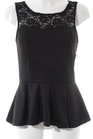 Amisu Top di merletto nero motivo floreale stile da moda di strada