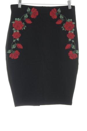 Amisu Stretch rok zwart-rood elegant