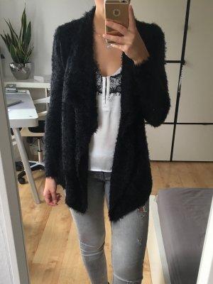 AMISU Strickjacke Jacke flauschig schwarz Wasserfallkragen Gr. XS