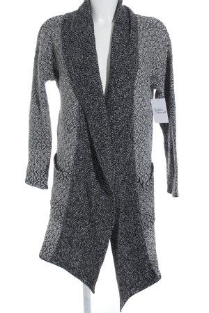 Amisu Gebreid jack zwart-wit zigzag patroon casual uitstraling