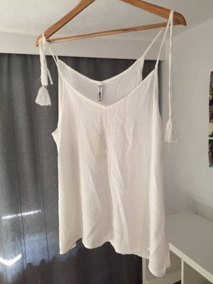 Amisu top Shirt bommeln weiß M neu