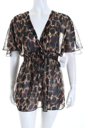 Amisu Transparenz-Bluse beige-schwarz Animalmuster Casual-Look