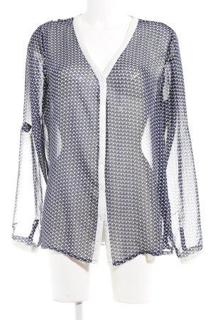 Amisu Transparenz-Bluse blau-weiß florales Muster Casual-Look