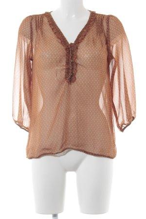 Amisu Transparenz-Bluse dunkelorange-hellorange grafisches Muster Casual-Look