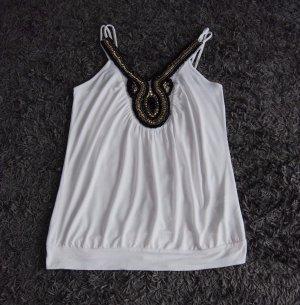 AMISU Weiß Damen Top mit Perlendekoration, Größe: S