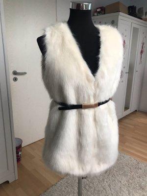 Amisu Vest van imitatiebont wit