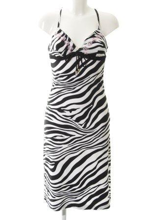 Amor & Psyche Vestido línea A negro-blanco estampado de animales