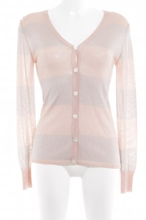 Amor & Psyche Cardigan dusky pink-silver-colored striped pattern glittery