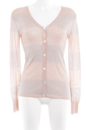 Amor & Psyche Cárdigan rosa empolvado-color plata estampado a rayas brillante