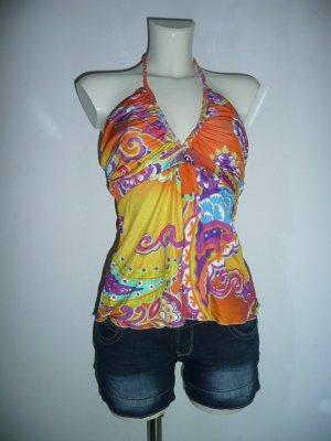 Amor & Psyche Halter Top multicolored silk