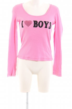 Amor & Psyche Crewneck Sweater pink-black printed lettering casual look