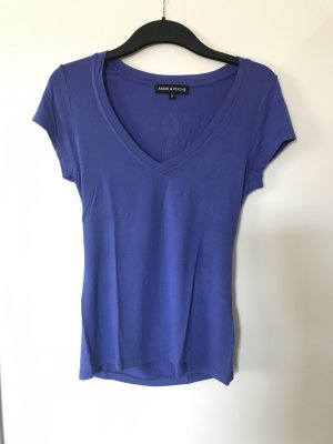 Amor & Psyche V-Neck Shirt steel blue cotton