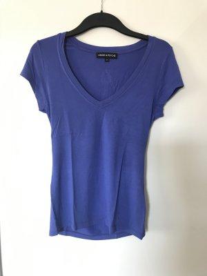 Amor & Psyche T-shirt col en V bleu acier coton